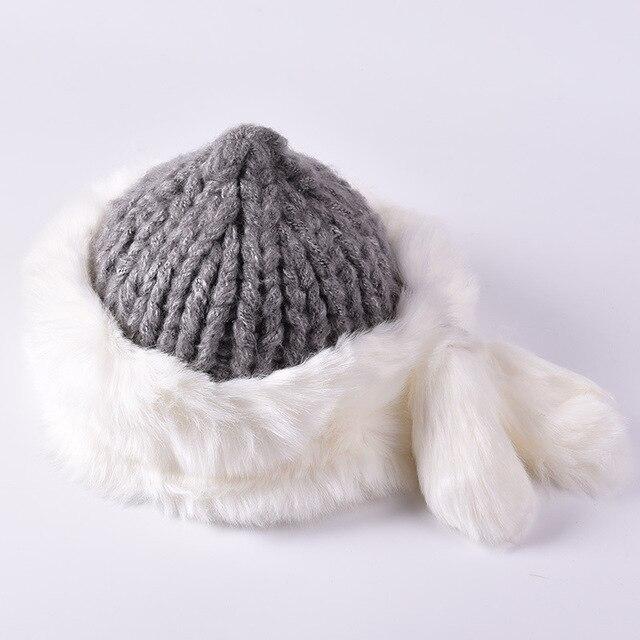 Fashion Casual New Women Winter Fur Hats High Quality Natural Keep Warm Rabbit Fur Beanie  Winter Rabbit Fur Hats Outdoor Ski