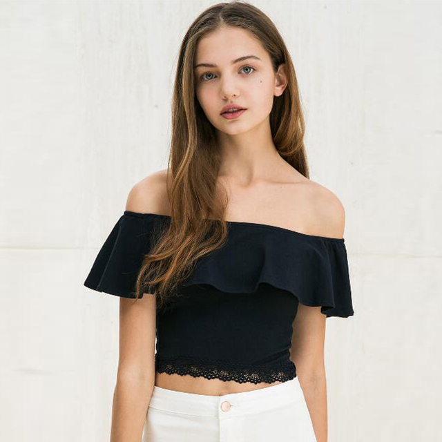 7ed87f852f160e Sexy Off Shoulder Women T Shirt Summer Style Lace Trim Crop Tops Slash Neck  Ruffles Party Tops Tees Beach Tube Top Blusas u2