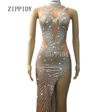Sparkly Crystals Long Dress Women s sexy Evening Party Costume Stage Wear  Women Silver Rhinestones Nude Color bb0b0414482b