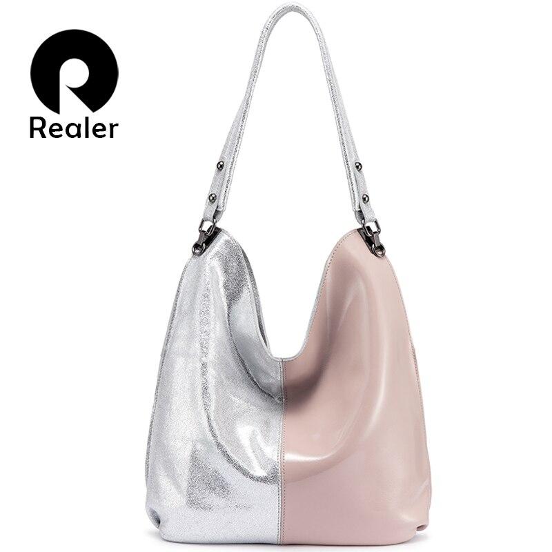 REALER genuine leather Hobo bag women shoulder bag tote Patchwork handbag ladies bags designer high qualiity