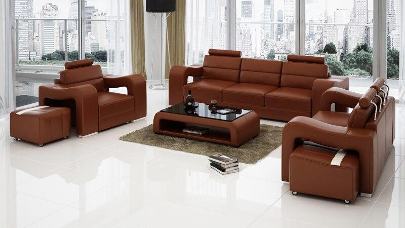 functional living room furniture sets | Functional Living Room Genuine Leather Sofa-in Living Room ...