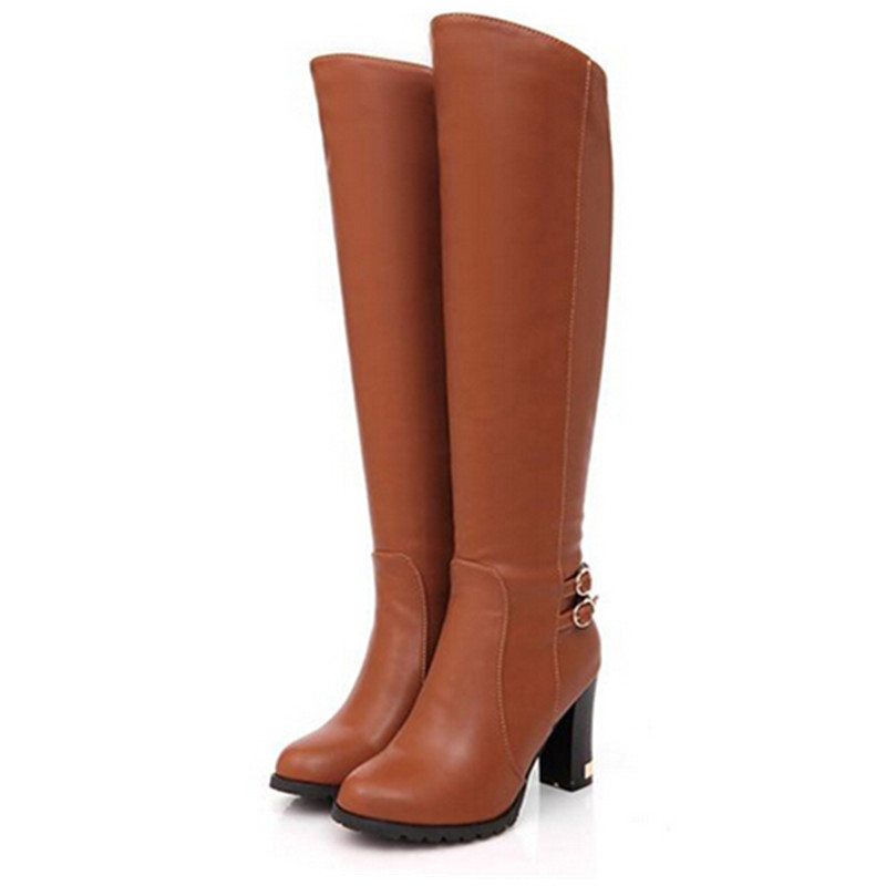 Fashion Italy Knee High Boots Winter Woman s Soft Leather Fashion Side Zippers New Female Thick