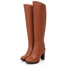 Mode Italien Kniehohe Stiefel Winter frau Weiche Leder Mode Seitlichem Reißverschlüsse Neue Weibliche Starke Ferse Hohe Stiefel schuhe Plus Größe