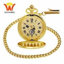 где купить OUYAWEI Luxury Sun Moon Men's Mechanical Pocket Watches Necklace Fob Chain Clock Love Gold Pendant Watch Women reloj bolsillo дешево