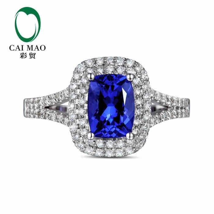 Caimao 18kt/750 الذهب الأبيض 1.15 قيراط الطبيعية إذا الأزرق تنزانيت aaa 0.35 ct كامل قص الماس المشاركة gemstone عصابة المجوهرات