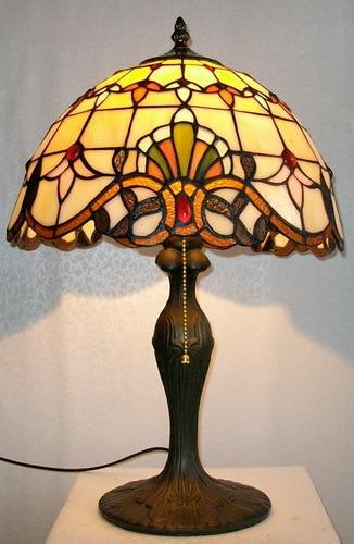 12 Polegada Candeeiro de Mesa De Vidro Manchado de Tiffany Barroco Europeu Clássico para Sala de estar E27 110-240 V