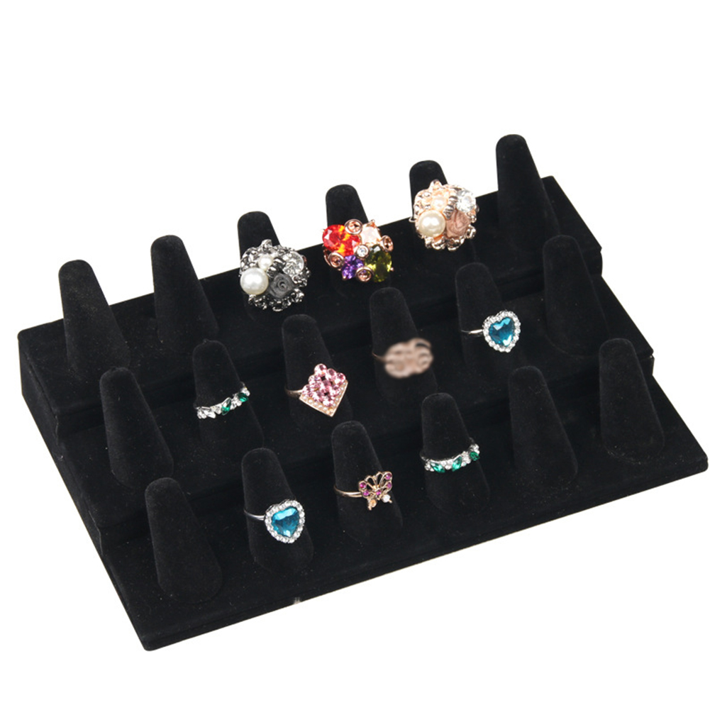 Accessories Ring Display Rack Organizer Cone Portable Velvet 12/18 Slots Solid Counters Jewelry Holder Showcase Stand Storage