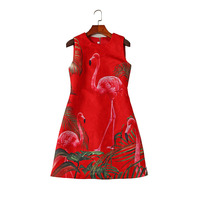 European sweet wild red flamingo printed jacquard sleeveless dress prom women Fashion Designer Runway Summer Dress Vintage dress