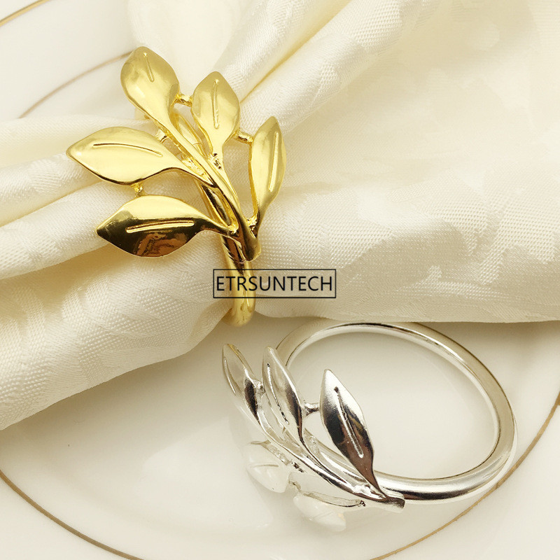 Leaf Shape Napkin Ring Gold Silver Leaves Metal Napkin Buckle Cloth Napkin Ring Wedding Banquet Table
