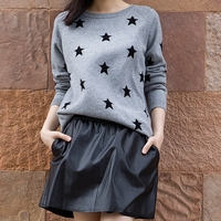 Stars Cashmere Sweater T Shirt Bottoming Shirt Sleeve Head Thickened Knitted Cashmere Sweater Wool