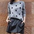 Estrellas Suéter de Cachemira Mujeres Cabeza Engrosada Que Basa La Camisa de La Manga de Punto de Cachemira Suéter de lana