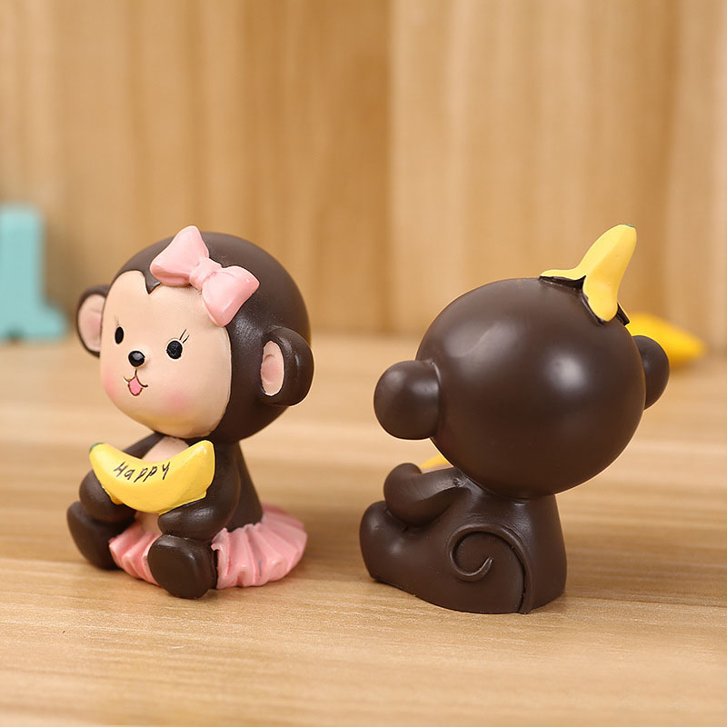 2pcsset Lovely Brown And Yellow Cartoon Banana Monkey Cake