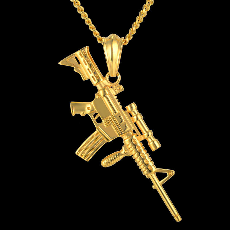 AK47 Stainless Steel Necklace with Gun Pendant Hiphop Wholesale Black Gold Color Fashion Necklaces For Women/Men 2016