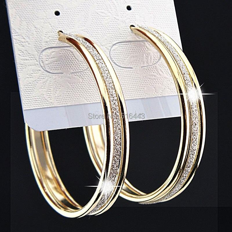 5d0c48121485 Aro de moda 3 filas esmerilado pendientes de aro grande para las mujeres de  la boda de novia joyería de fiesta de B1060 en Pendientes de aro de Joyería  y ...