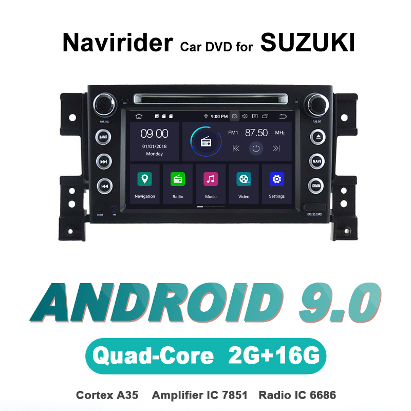 Navirider autoradio gps navigation android 9.0 autoradio lecteur pour SUZUKI GRAND VITARA 2005-2012 DVD stéréo auto accessoires