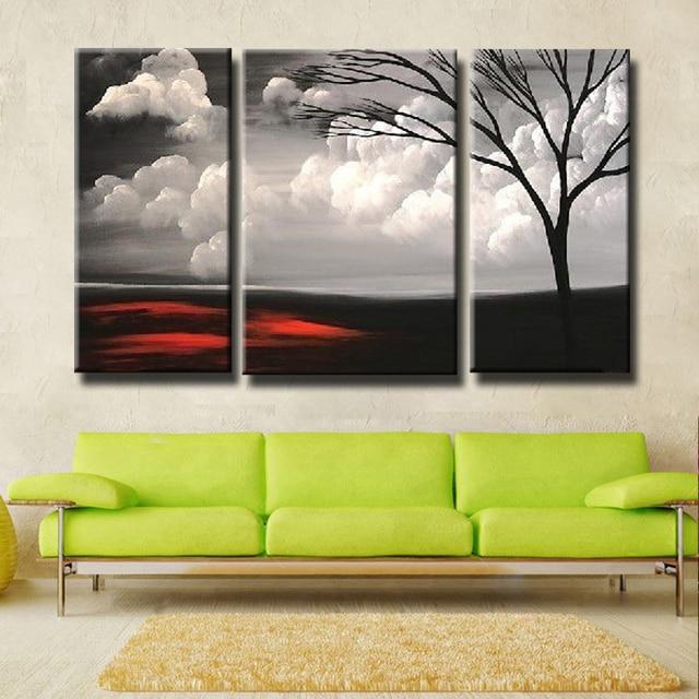 Wohnzimmer rot schwarz weis  Handbemalt 3 Stück Schwarz Weiß Rot Moderne Landschaftsölgemälde ...