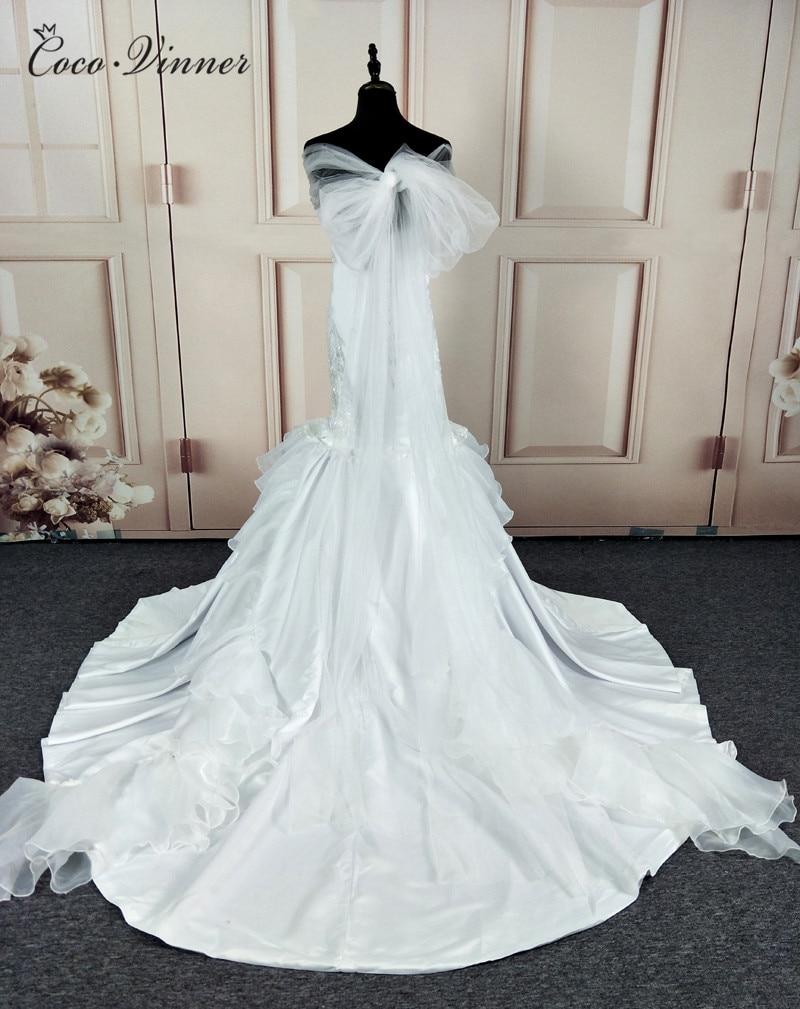 C.V Quality Satin Vintage Mermaid Wedding dress with long wrap Pure ...