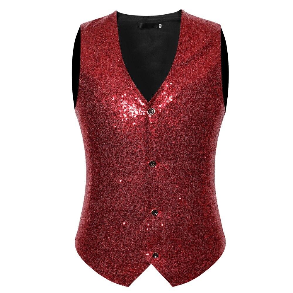 Mens Royal Blue Sequin Vest Hipster Punk Rock V Neck Male Shiny Glitter Tops Vests Plus Wedding Singer DJ Costumes Waistcoat XXL in Vests from Men 39 s Clothing