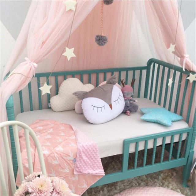 Gut Rosa Grau Weiß Baby Mädchen Prinzessin Bett Volant Palace Moskito Net Für  Kleinkind Krippe Baldachin Babybett Bett Zubehör Set