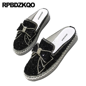 Image 4 - Diamond Mules Crystal Japanese Slippers Muffin Black Silver Platform Bling Women Flats Shoes With Little Cute Bowtie Creepers