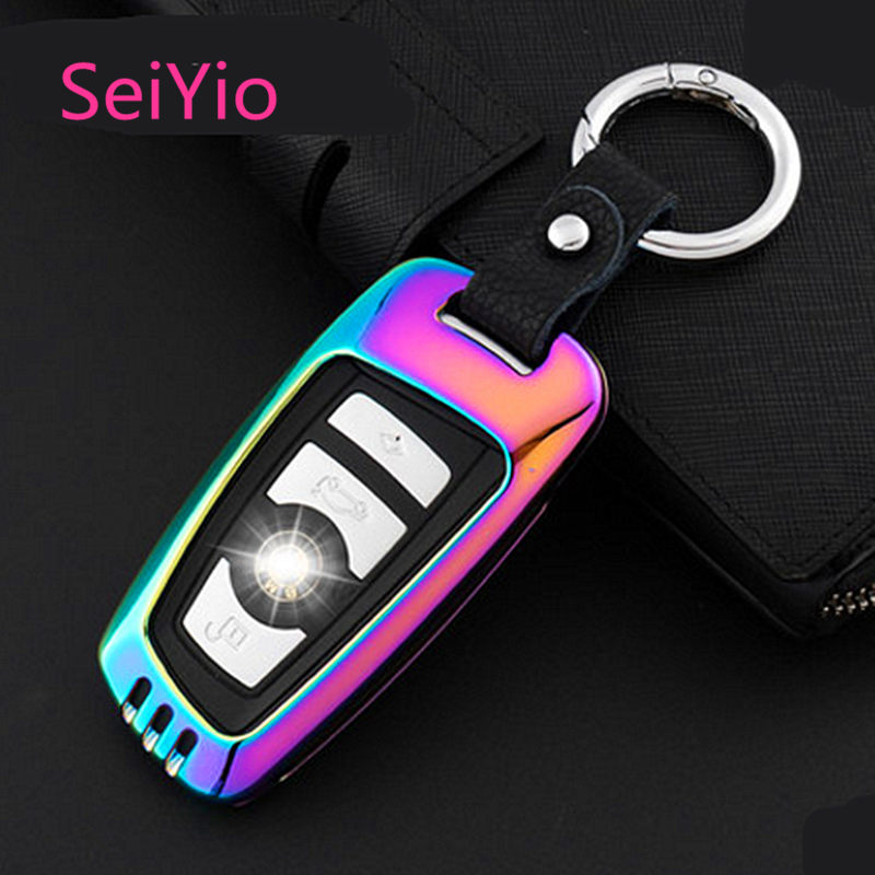 Hot Selling SeiYio Car key ring case bag for BMW Alloy& Leather Creative style car cover for BMW smart key