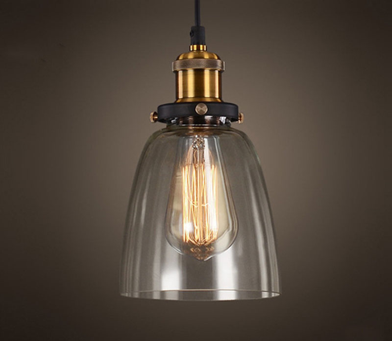 Vintage Amber Glass Pendant Lamp Retro Pendant Lights Glass Lampshade
