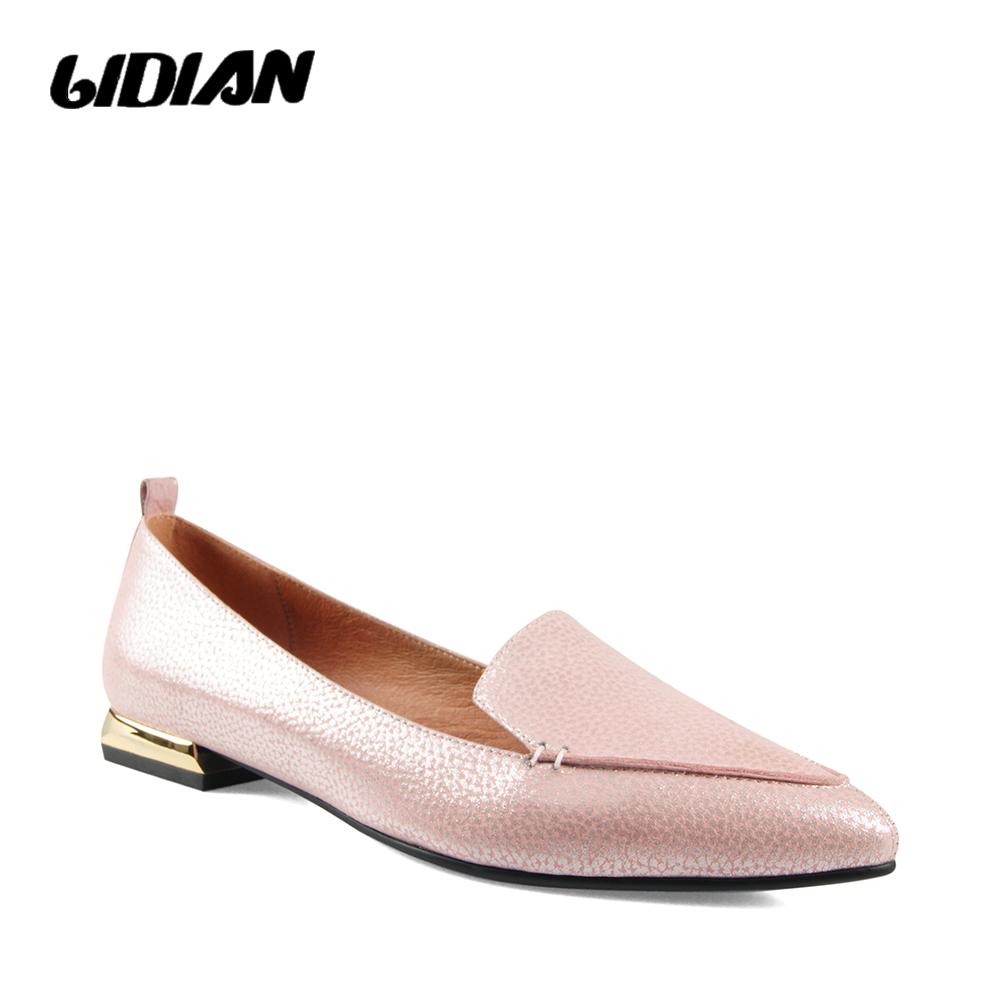 LIDIAN I Luxury Woman Elegant Flats Solid Vintage Genuine Leather Sexy Pointed Toe Classic Low Heels Casual Office Lady shoe B53LIDIAN I Luxury Woman Elegant Flats Solid Vintage Genuine Leather Sexy Pointed Toe Classic Low Heels Casual Office Lady shoe B53