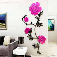 Europe blooming flower Acrylic 3d self adhesive TV sofa wall sticker Entrance hall poster Bedroom ornament sticker painting