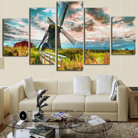 5 Parts Set 5d Diy Magic Diamond Painting Cross Stitch Netherlands Windmill Full Diamond Embroidery Canvas