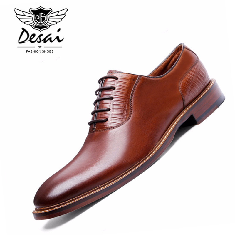DESAI Brand Luxury Business Style Casual Men Dress Leather Shoes Genuine Leather Oxford Shoes For Men Wedding Shoes