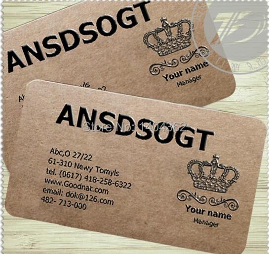 Personnalise 500 Pieces Papier Special 350g Kraft Papier Cartes De Visite Carte De Visite Impression Carte De Visite Aliexpress