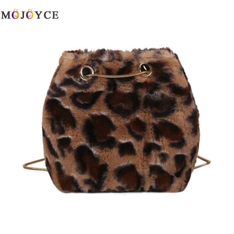 Fashion Women Leopard Print Shoulder Bags Plush Crossbody Bag Bolsa  Feminina Bag for Women 2018 211114b2335c2
