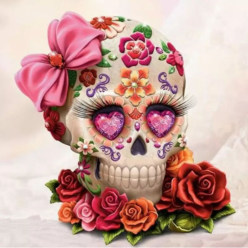 Skull Flower Full Drill DIY 5D Mosaic Needlework Diamond Painting Embroidery Cross Stitch Craft Kit Wall Home Hanging Decor