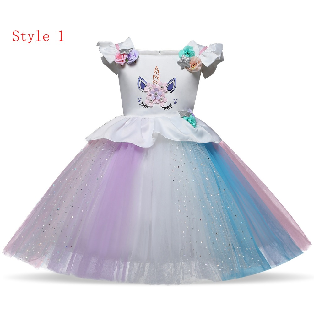 Free shipping unicorn Flower girl dress 7 colour gauze princess dress printing bitter fleabane dress birthday party gift JQ-2032