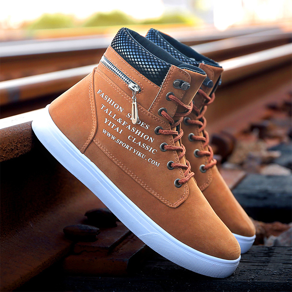 YRRFUOT Men Casual Shoes Hot Sale Autumn Winter Outdoor High Flats Shoes Fashion Man Sneakers Brand High Quality Non-slip Shoes new spring autumn genuine leather men casual shoes man flats fashion suede flat handmade shoe waterproof non slip high quality