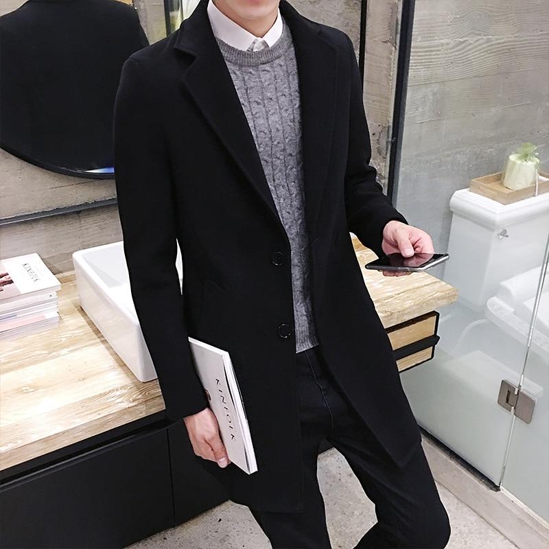 2017 Vinter män i långa täcker Slim Woolen Coat, England Style - Herrkläder - Foto 3