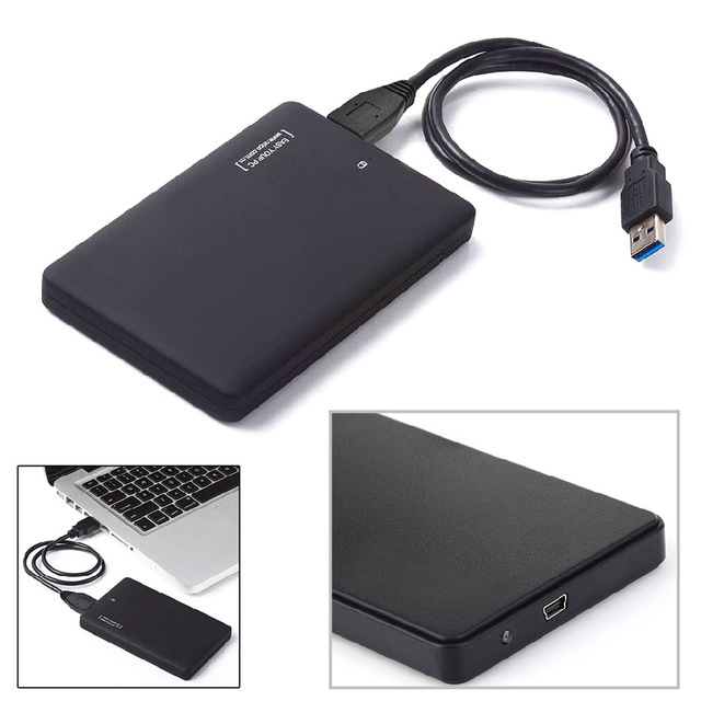 HDD Case Slim Portable 2.5 HDD Enclosure USB 2.0 External Hard Disk Case Sata to USB Hard Disk Drives HDD Case With USB Cable(China)