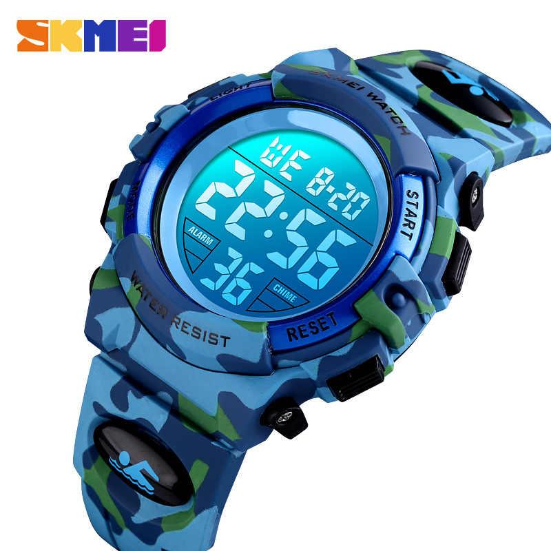 SKMEI Военные детские спортивные часы 50 м водонепроницаемые электронные наручные часы секундомер часы детские электронные часы для мальчиков и девочек