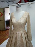 Shiny Champagne Gold Evening Gown Long Sleeves Sexy Deep V Neck Arabic Women Formal Prom Dresses