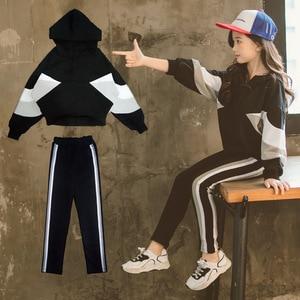 Image 2 - Fashion Girls Clothing Set Hooded Sport Set for Teenagers Striped Black Tracksuit Children Clothes 2019 Korean Kids Clothes Set