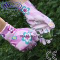 NMSafety 3 pairs comfortable flower print polyeaster liner coated PU gloves, gardening gloves