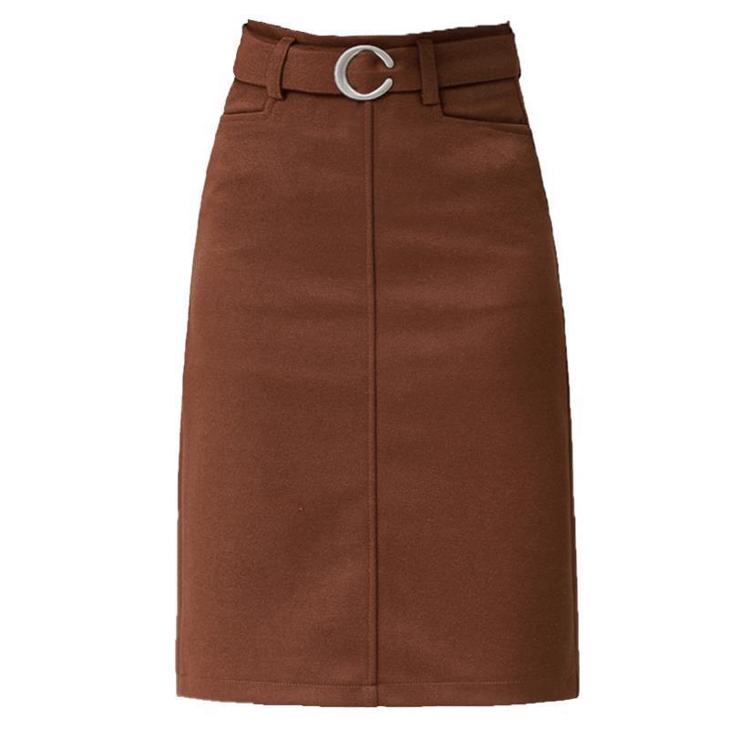 2018 new woolen bag hip long paragraph a word winter step skirt