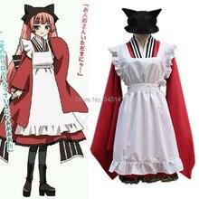 El Envío Gratuito! Gugure! Kokkuri san Tama Cosplay, Custom vestidos de dama, maid lolita delantal bowtie conjunto uniforme