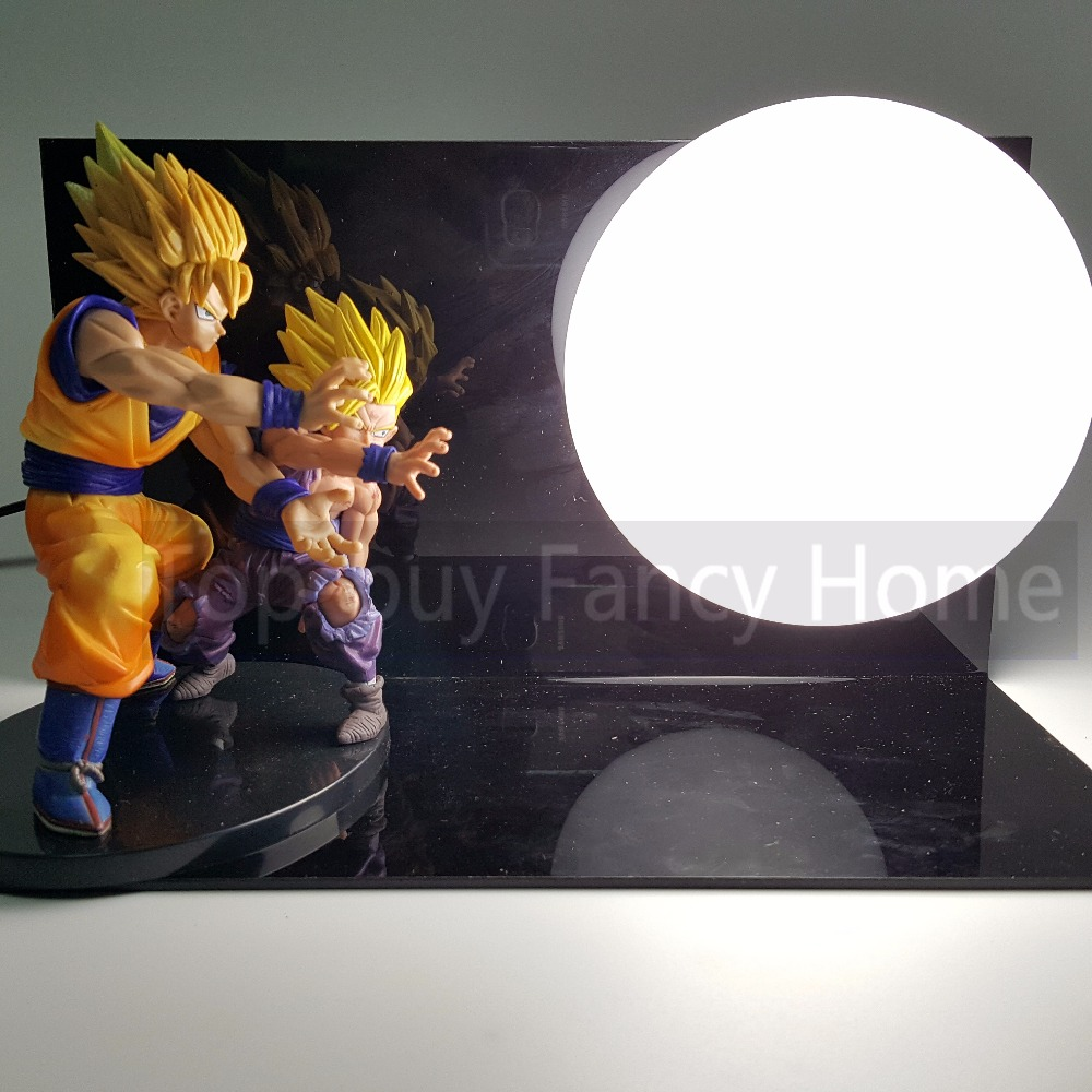 Dragon Ball Z Action Figures Goku Gohan Father Son Super Saiyan DIY Esferas Del Dragon Anime Dragonball Z Figures Toys+Bulb+Base стеллаж sheffilton sht ss4 черный хром лак черный