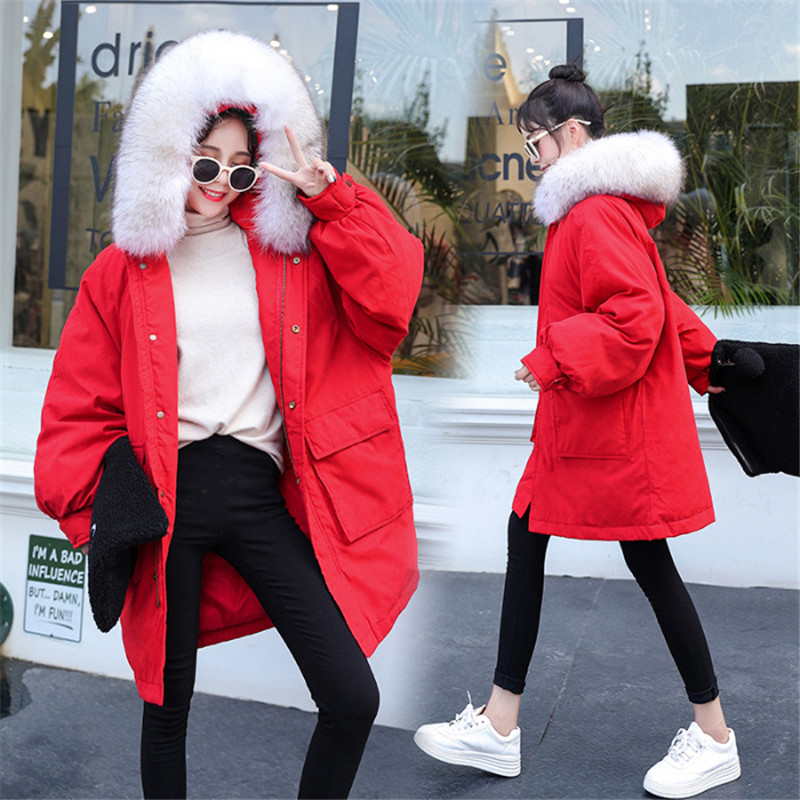 Winter New Cotton Women Long Large Fur Collar Down Cotton Padded Bread Solid Color Loose Warm Femme   Parkas   Wild Coat MZ3166