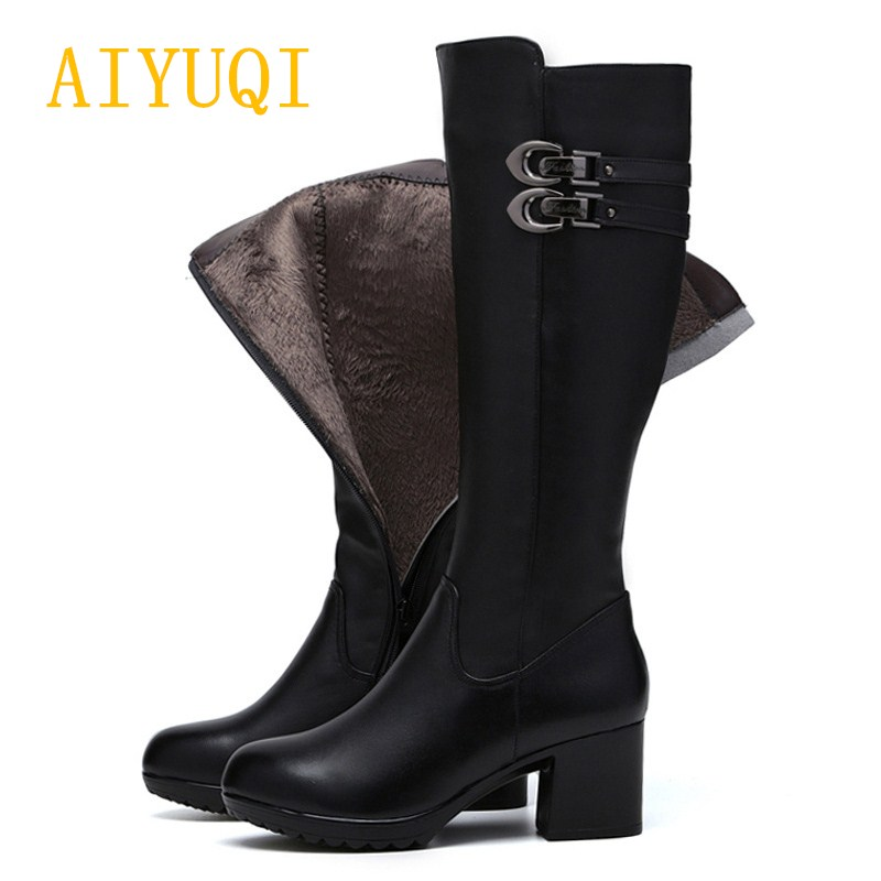 AIYUQI 2018 New Winter Genuine Leather women's boots .High Leg Zip Up Biker Riding Boots. Fashion Party Boots Women Ladies shoes zip up florals wide leg jumpsuit