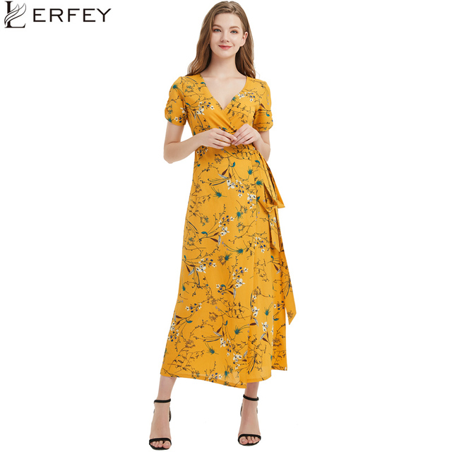 LERFEY Boho Wrap Dress Summer Women Sexy Long Maxi Beach Dress Sash Bow Tie Floral Print Casual Chiffon Dresses Retro Vestidos