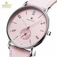 Милые розовые женские часы Kingsky повседневные кожаный ремешок аналог кварцевые часы модные женские часы маленькие секунды relogio feminino