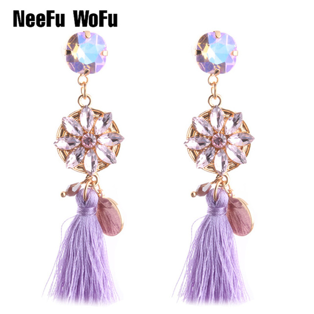 NeeFu WoFu Drop Rhinestone Earring Crystal Tassel Big Earring Dangle Zinc  alloy Large Long Brinco Printing Ear Oorbellen 864ae8385b15