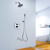 integrated embedded box concealed shower wall type shower faucet set 7014A